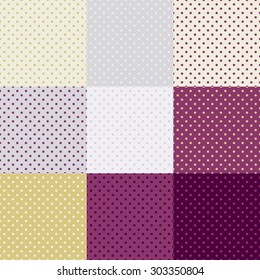 Polka dot seamless wallpaper pattern or background set. 9 in 1. Green colors