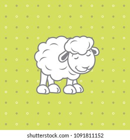 Polka dots background with cute baby sheep. Vector
