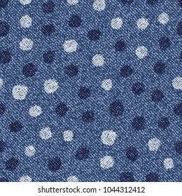 Polka dots background. Vector Denim seamless pattern. Blue jeans cloth.