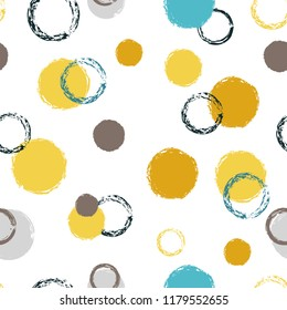 Polka dots brush seamless pattern. Chalk hand drawn rounds, hoops, rings endless repeat print, abstract geometric pattern. Trending pastel ornament background. Art card vector illustration.