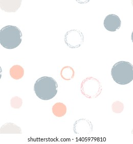 Polka dots pastel seamless pattern. Chalk brush hand drawn rounds, hoops, rings endless repeat print, abstract geometric pattern. Trending pastel ornament background. Polka dot vector illustration.
