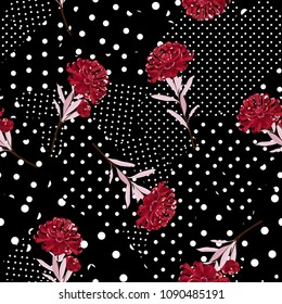 Polka dots pattern mix in different size of circle on top with oriental blooming red flowers seamless pattern vector for fashion fabric and all prints on black color background.