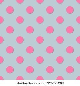 Polka dots seamless pattern. 3d vector background. Retro style print.