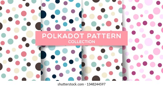 Polka dots seamless pattern collection. Colorful print design for textile, fabric, fashion, wallpaper, background. Vector eps 10