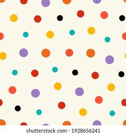 Polka dots seamless pattern. Contemporary colorful background, wallpaper, modern art print. Vector illustration