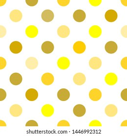 Polka dots seamless pattern with gold yellow colors vector white background