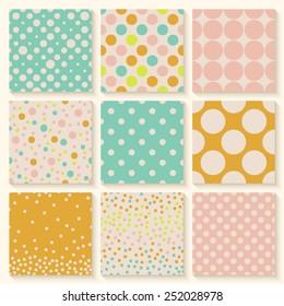 Polka dots seamless pattern set