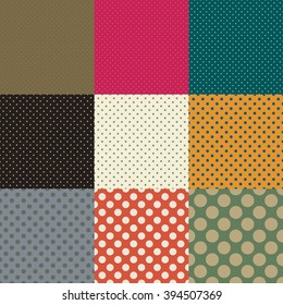 Polka dots. Set of seamless vector patterns with different sizes of circles. Colored templates for textiles, wrapping or abstract classic background.