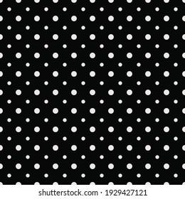 Polka dots. Vector Polka Dots. Black Background White Dots. Vector.