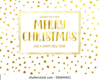 Polka Dotted Holidays - Simple Christmas and New Year greeting card with irregular, uneven hand drawn dots, gold foil on white