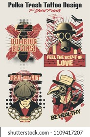 Polka Trash Tattoo Design Vector Illustrations Bomb, Gas Mask, Bully, Plague Doctor
