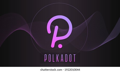 Polkadot cryptocurrency colorful gradient logo on dark background with thin line wave.