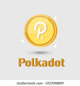 Polkadot (DOT) crypto currency icon. Gold Polkadot cryptocurrency.illustration for logo adaptation design web site mobile app, EPS10.