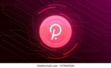 Polkadot (DOT) crypto currency themed banner. Polkadot coin or DOT icon on modern black color background.