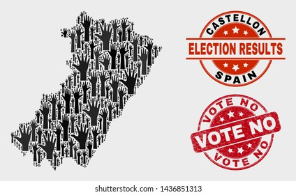 Poll Castellon Province map and watermarks. Red rounded Vote No textured seal stamp. Black Castellon Province map mosaic of upwards agree hands. Vector composition for referendum results,