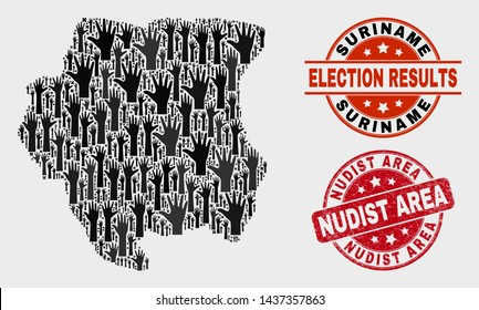 Poll Suriname map and seal stamps. Red round Nudist Area distress seal stamp. Black Suriname map mosaic of raised like hands. Vector combination for election results, with Nudist Area seal stamp.