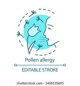 Pollen allergy concept icon. Hay fever idea thin line illustration. Allergic asthma, rhinitis caused by plants pollen. Seasonal respiratory disease. Vector isolated outline drawing. Editable stroke