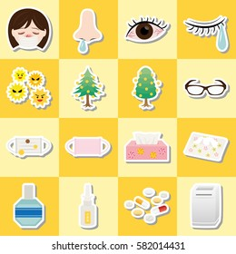 """Pollen allergy icon set. /It is written as """"nose drops"""" in Japanese."""