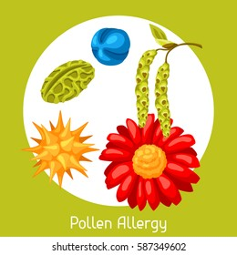 Pollen allergy. Vector illustration for medical websites advertising medications.