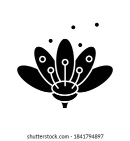 Pollen black glyph icon. Natural flowers reproduction. Pollination process, seasonal allergy, beekeeping silhouette symbol on white space. Blooming flower bud in blossom vector isolated illustration