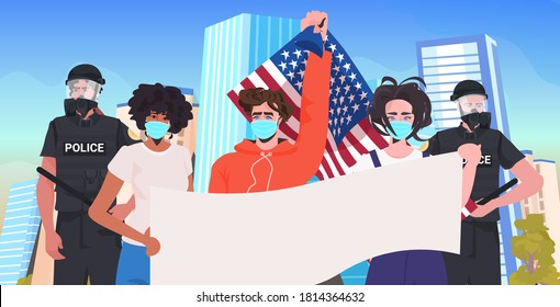 pollice officers with mix race protesters in masks holding empty banner labor day celebration coronavirus quarantine concept cityscape background portrait horizontal vector illustration
