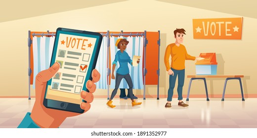 Polling place and mobile app for vote at election day. People choosing candidate in voting booths and put ballots in box or poll online on smartphone. Vector cartoon illustration