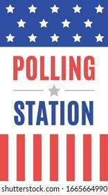 Polling Station Banner Sign, Voting Center, Political Election, President Election, Politics, Government, Ballot Vector Illustration Background