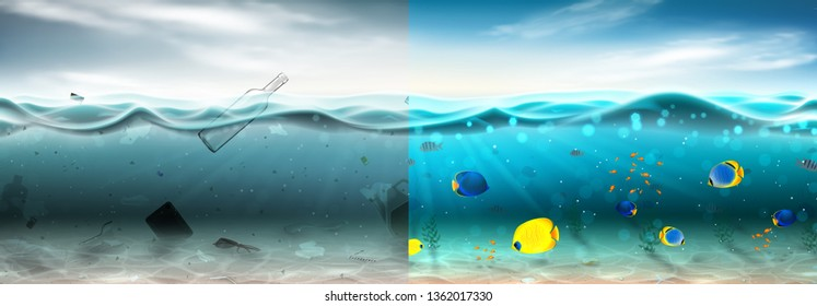 Polluted and clean sea water concept. Different garbage floating in waste water and beautiful underwater world with color fish and seaweed. Global aqua pollution. Vector illustration.