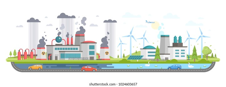 Polluted and eco area - modern flat design style vector illustration on white background. A composition with a plant making hazardous substances emissions and clean zone with windmills, solar panels