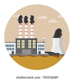 Polluted industry Water flat design icon
