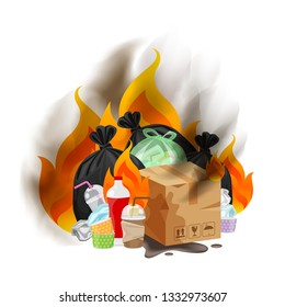 polluted of waste plastic incineration isolated on white, garbage waste disposal with burnt incinerate, fire flame garbage burning and smoke air pollution, fire smoke burn garbage waste plastic