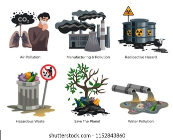 Pollution awareness ecological environmental concept flat compositions set with hazardous radioactive industrial housekeeping waste isolated vector illustration
