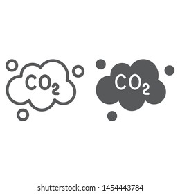 Pollution co2 line and glyph icon, ecology and dioxide, co2 emissions cloud sign, vector graphics, a linear pattern on a white background, eps 10.
