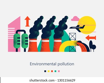 Pollution of the environment by harmful emissions into the atmosphere and water. Factories, Smoking chimneys, the discharge of harmful wastes into the river could. Vector illustration with textures