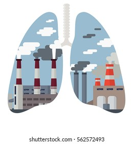 Pollution of the environment concept. Air pollution. Smog polluted urban landscape.