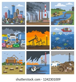 Pollution environment vector polluted air smog or toxic smoke of industrial city illustration cityscape set of environmental damage of factory and transportation exhaust or pollutant garbage