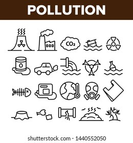Pollution of Environment Vector Thin Line Icons Set. Air, Water, Soil Pollution Problems Linear Pictograms. Chemical Contamination, Gas Emissions, Deforestation, Global Warming Contour Illustrations