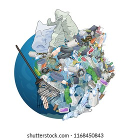 The pollution, garbage, plastic, bags on the planet. The concept of ecology and the World Cleanup Day.