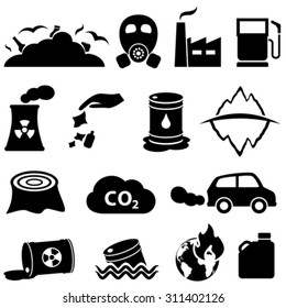 Pollution, global warming and environment icons