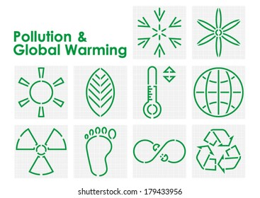 Pollution and Global Warming Symbols