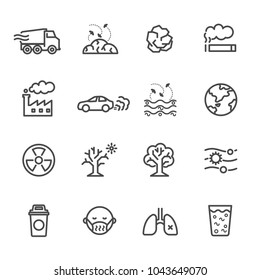 Pollution icon set, Vector illustration of thin line icons for Pollution Contains such Icons as earth, factory, air, smoke, waste, garbage, traffic and other