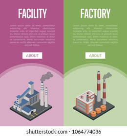 Pollution industry isometric vertical flyers with chemical factory or power plant with smoke stacks. Nature environmental damage, global ecology, atmosphere harmful emissions vector illustration.