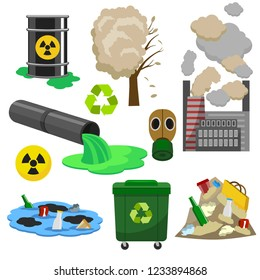 Pollution Infographic Elements Concept 3d Icon Set Isometric View Include of Water, Factory, Air and Garbage. Vector illustration