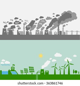 Pollution from old power plants vs. green types of power plants (water, solar, geothermal, wind). Sustainable development theme.