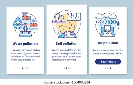 Pollution onboarding mobile app page screen with linear concepts. Water, soil and air waste contamination walkthrough steps graphic instructions. UX, UI, GUI vector template with illustrations
