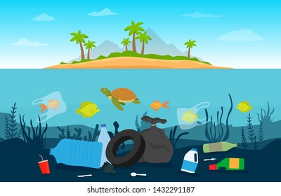 Pollution plastic garbage in underwater. Environmental disaster concept. Vector flat design.