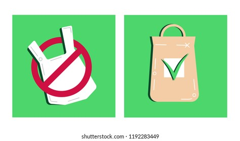 Pollution problem concept.Say no to plastic bags,textile bag.Cartoon styled images with signage stop using disposable polythene package and cellophane.Vector concept empty