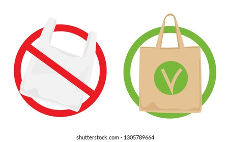 Pollution problem concept. Say no to plastic bags, bring your own textile bag. Signage calling for stop using disposable polythene package.