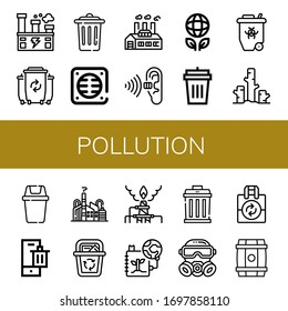 pollution simple icons set. Contains such icons as Factory, Waste, Trash, Drain, Pollution, Ecology, Garbage bin, Radioactive, Deforestation, can be used for web, mobile and logo