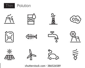 Pollution vector icons set Thin line outline